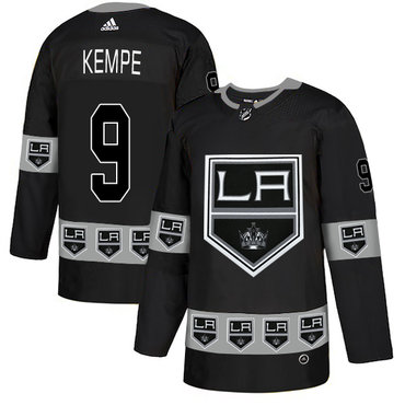 Men's Los Angeles Kings #9 Adrian Kempe Black Team Logos Fashion Adidas Jersey