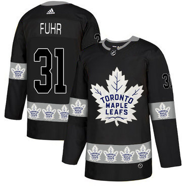 Men's Toronto Maple Leafs #31 Grant Fuhr Black Team Logos Fashion Adidas Jersey