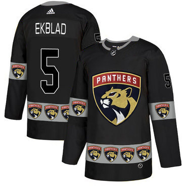 Men's Florida Panthers #5 Aaron Ekblad Black Team Logos Fashion Adidas Jersey