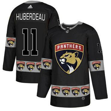 Men's Florida Panthers #11 Jonathan Huberdeau Black Team Logos Fashion Adidas Jersey