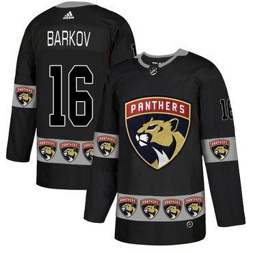 Men's Florida Panthers #16 Aleksander Barkov Black Team Logos Fashion Adidas Jersey