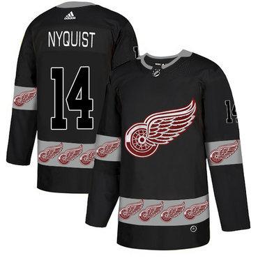 Men's Detroit Red Wings #14 Gustav Nyquist Black Team Logos Fashion Adidas Jersey