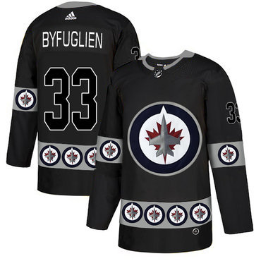 Men's Winnipeg Jets #33 Dustin Byfuglien Black Team Logos Fashion Adidas Jersey