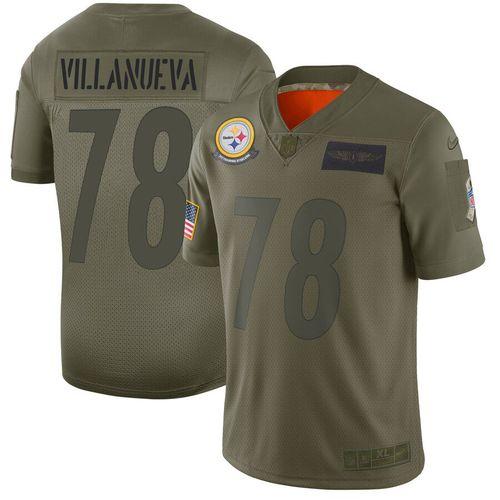 Men Pittsburgh Steelers 78 Villanueva Green Nike Olive Salute To Service Limited NFL Jerseys