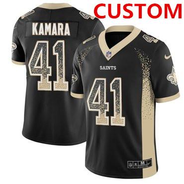 Nike New Orleans Saints Custom Black Team Color Men's Stitched NFL Limited Rush Drift Fashion Jersey