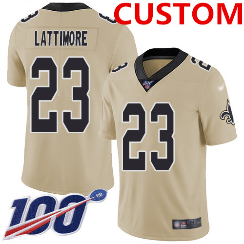 Nike  New Orleans Saints Custom Gold Men's Stitched NFL Limited Inverted Legend 100th Season Jersey