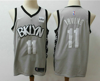 Men's Brooklyn Nets #11 Kyrie Irving Gray 2019 NEW Nike Swingman Stitched NBA Jersey With The Sponsor Logo