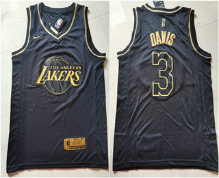 Men's Los Angeles Lakers #3 Anthony Davis Black Golden Edition Nike Swingman Jersey