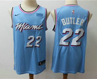 Men's Miami Heat #22 Jimmy Butler Light Blue Nike Swingman 2018 playoffs Earned Edition Stitched Jersey With The Sponsor Logo