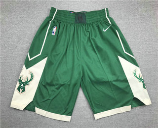 Men's Milwaukee Bucks Green Stitched NBA Nike Swingman Shorts