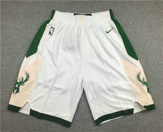 Men's Milwaukee Bucks White Stitched NBA Nike Swingman Shorts