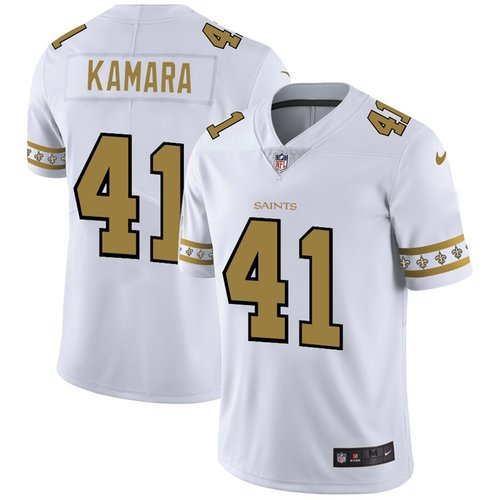 New Orleans Saints #41 Alvin Kamara Nike White Team Logo Vapor Limited NFL Jersey