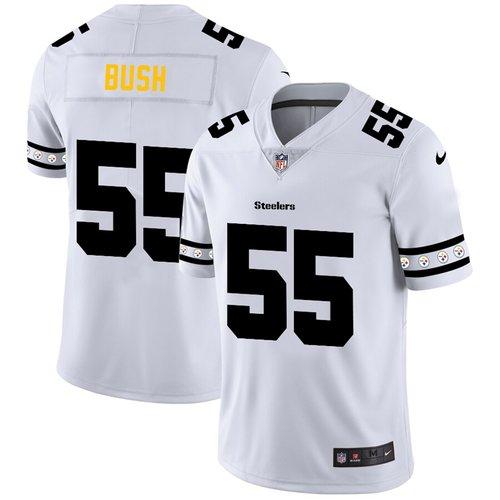 Pittsburgh Steelers #55 Devin Bush Nike White Team Logo Vapor Limited NFL Jersey