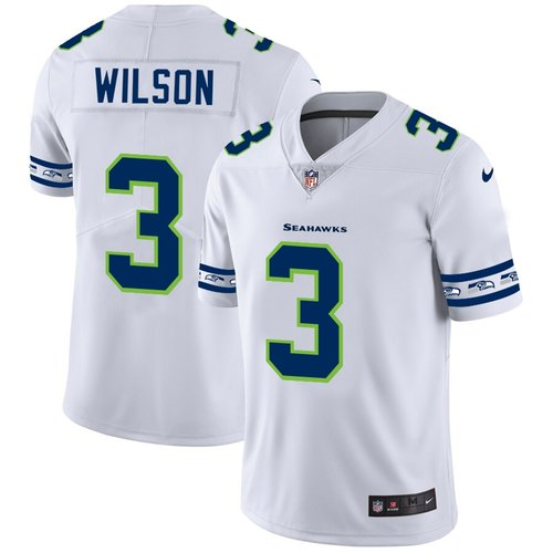 Men's Seattle Seahawks #3 Russell Wilson Nike White Team Logo Vapor Limited NFL Jersey