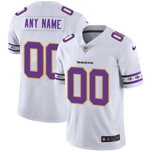Men's Baltimore Ravens Custom Nike White Team Logo Vapor Limited NFL Jersey