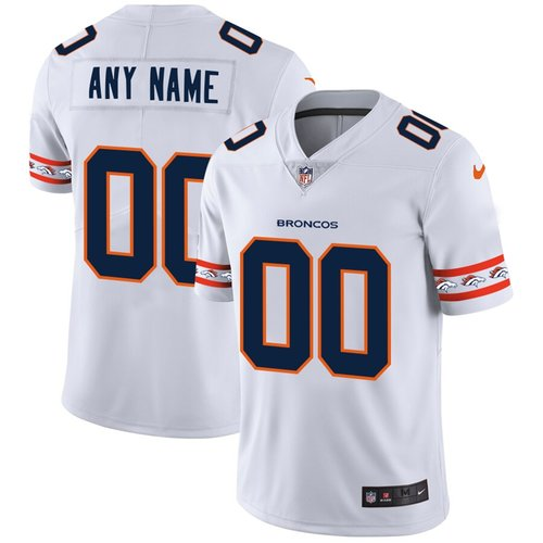 Men's Denver Broncos Custom Nike White Team Logo Vapor Limited NFL Jersey