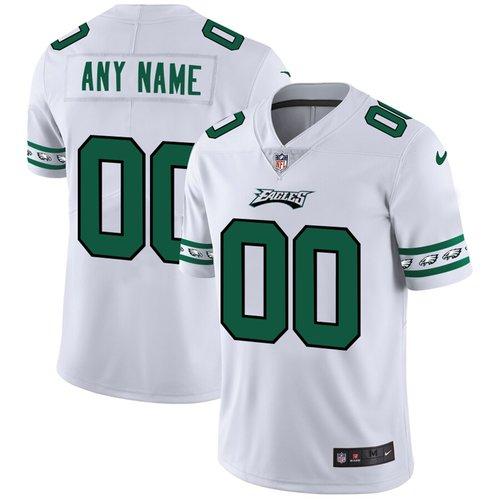 Men's Philadelphia Eagles Custom Nike White Team Logo Vapor Limited NFL Jersey