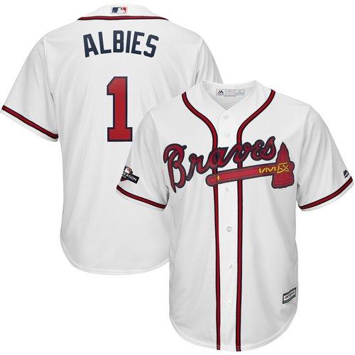 Atlanta Braves #1 Ozzie Albies Majestic 2019 Postseason Official Cool Base Player White Jersey