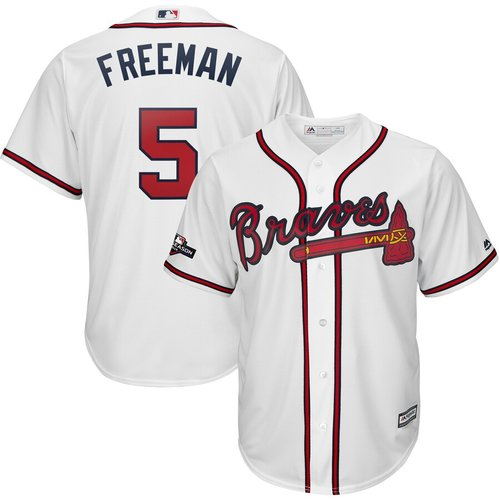 Atlanta Braves #5 Freddie Freeman Majestic 2019 Postseason Official Cool Base Player White Jersey