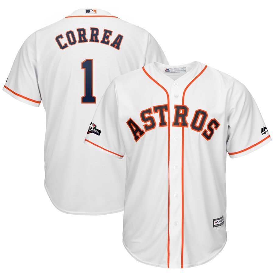 Houston Astros #1 Carlos Correa Majestic 2019 Postseason Official Cool Base Player White Jersey