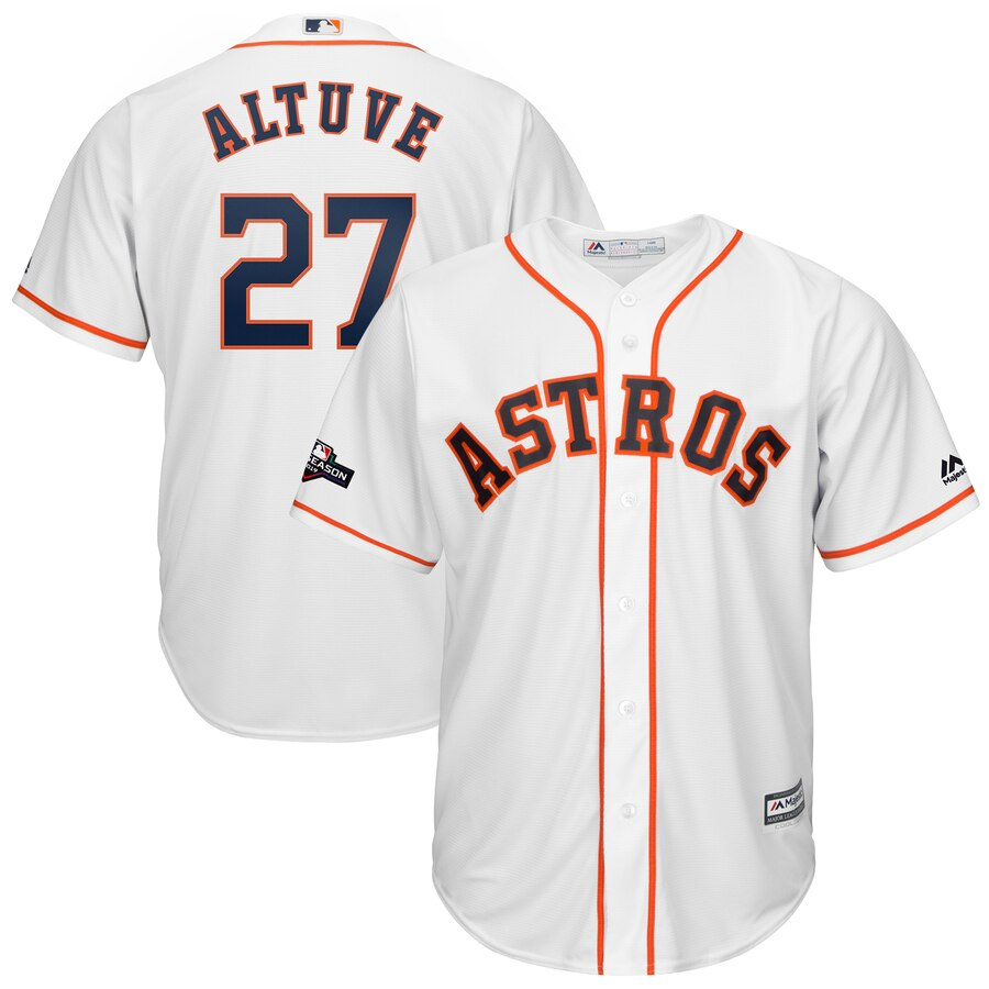 Houston Astros #27 Jose Altuve Majestic 2019 Postseason Official Cool Base Player White Jersey