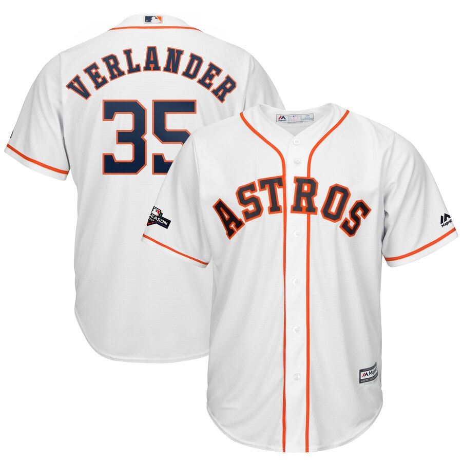 Houston Astros #35 Justin Verlander Majestic 2019 Postseason Official Cool Base Player White Jersey