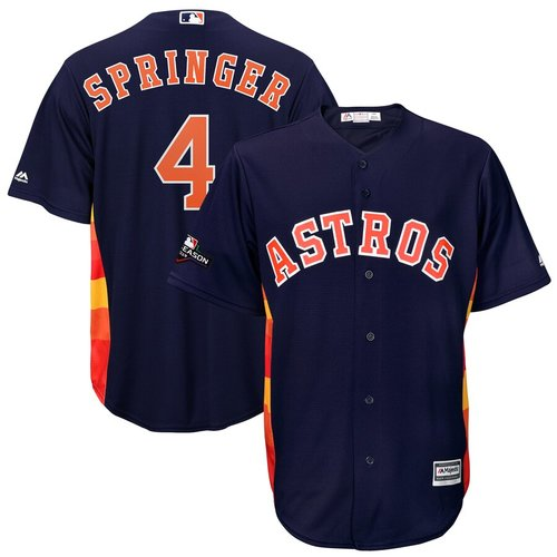 Houston Astros #4 George Springer Majestic 2019 Postseason Official Cool Base Player Navy Jersey