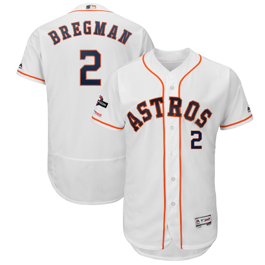 Houston Astros #2 Alex Bregman Majestic 2019 Postseason Authentic Flex Base Player White Jersey