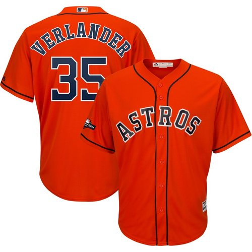 Houston Astros #35 Justin Verlander Majestic 2019 Postseason Official Cool Base Player Orange Jersey