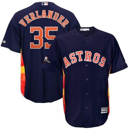 Houston Astros #35 Justin Verlander Majestic 2019 Postseason Official Cool Base Player Navy Jersey