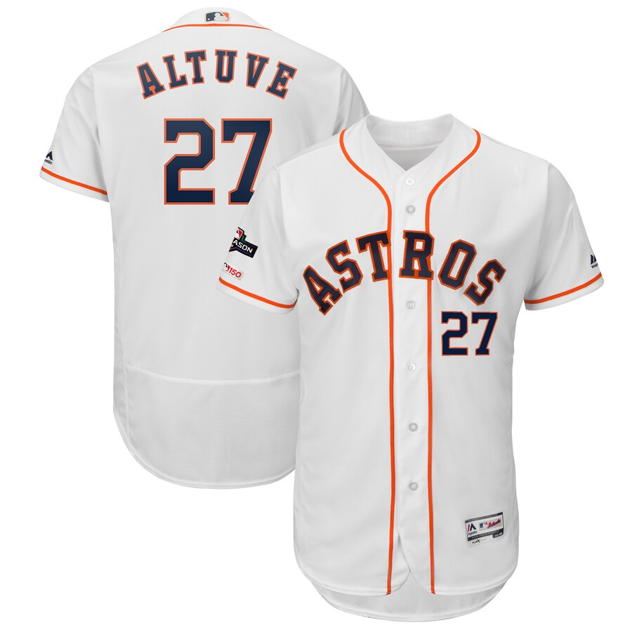 Houston Astros #27 Jose Altuve Majestic 2019 Postseason Authentic Flex Base Player White Jersey