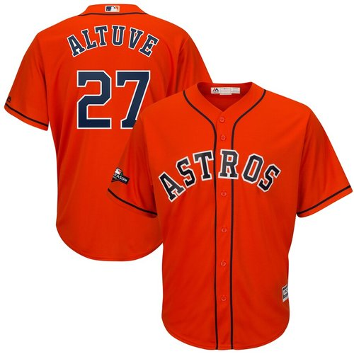 Houston Astros #27 Jose Altuve Majestic 2019 Postseason Official Cool Base Player Orange Jersey