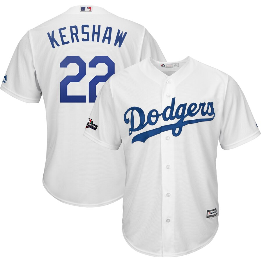 Los Angeles Dodgers #22 Clayton Kershaw Majestic 2019 Postseason Home Official Cool Base Player White Jersey