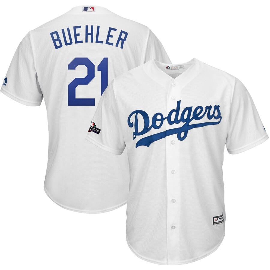 Los Angeles Dodgers #21 Walker Buehler Majestic 2019 Postseason Home Official Cool Base Player White Jersey