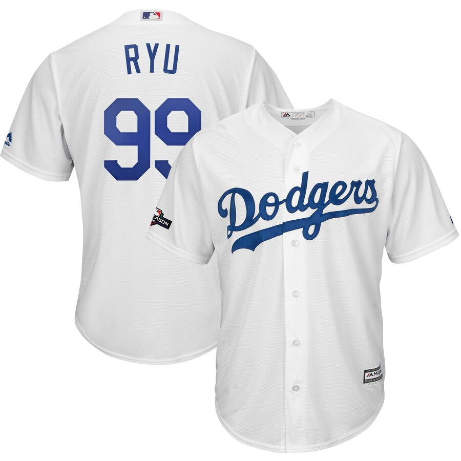 Los Angeles Dodgers #99 Hyun-Jin Ryu Majestic 2019 Postseason Home Official Cool Base Player White Jersey