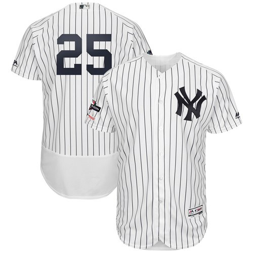 New York Yankees #25 Gleyber Torres Majestic 2019 Postseason Authentic Flex Base Player White Navy Jersey