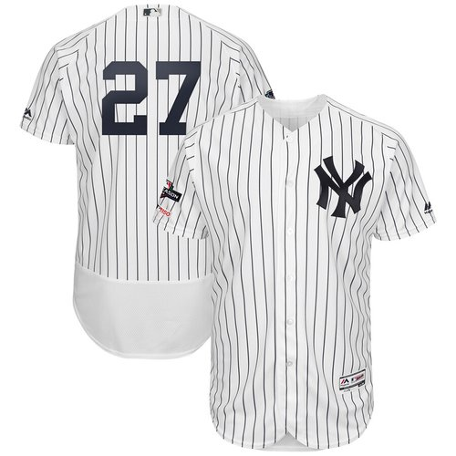 New York Yankees #27 Giancarlo Stanton Majestic 2019 Postseason Authentic Flex Base Player White Navy Jersey