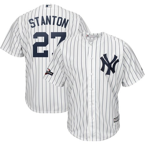 New York Yankees #27 Giancarlo Stanton Majestic 2019 Postseason Official Cool Base Player White Navy Jersey