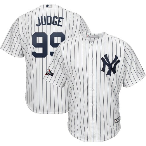 New York Yankees #99 Aaron Judge Majestic 2019 Postseason Official Cool Base Player White Navy Jersey