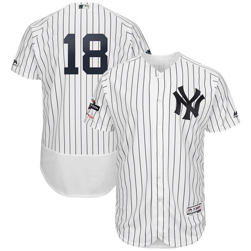 New York Yankees #18 Didi Gregorius Majestic 2019 Postseason Authentic Flex Base Player White Navy Jersey