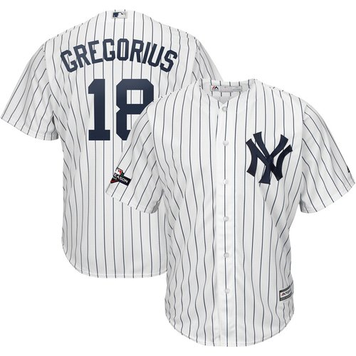 New York Yankees #18 Didi Gregorius Majestic 2019 Postseason Official Cool Base Player White Navy Jersey