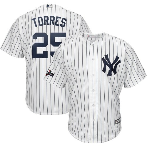 New York Yankees #25 Gleyber Torres Majestic 2019 Postseason Official Cool Base Player White Navy Jersey