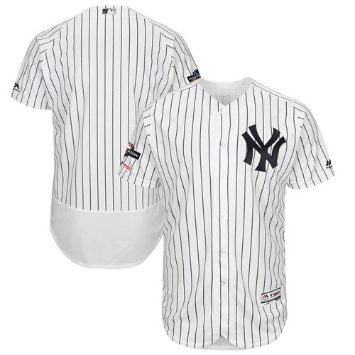 New York Yankees Majestic 2019 Postseason Authentic Flex Base Player White Navy Jersey