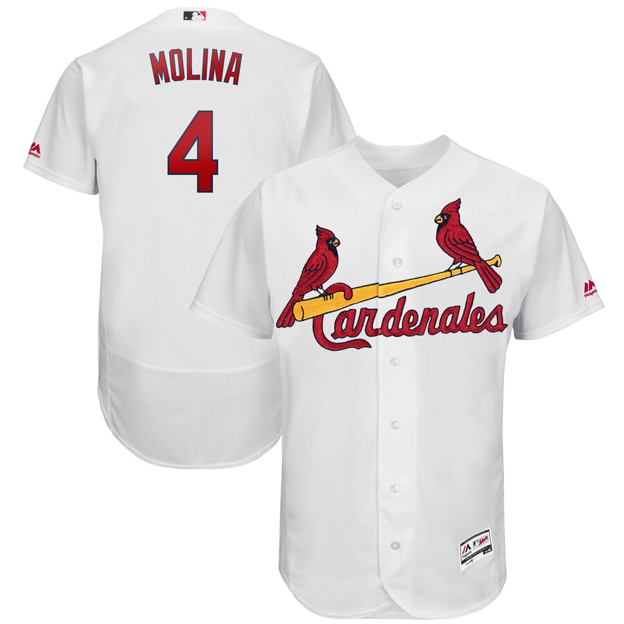 St. Louis Cardinals #4 Yadier Molina Majestic 2019 Hispanic Heritage Flex Base Authentic Player White Jersey