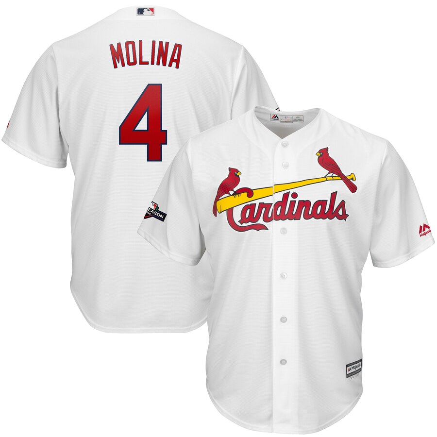 St. Louis Cardinals #4 Yadier Molina Majestic 2019 Postseason Official Cool Base Player White Jersey