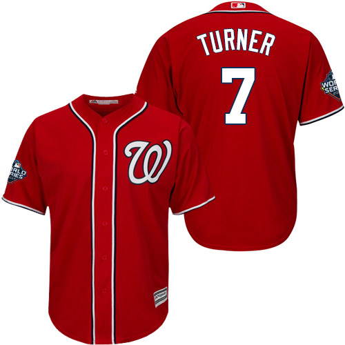 Men's Washington Nationals #7 Trea Turner Red 2019 World Series Bound Cool Base Stitched MLB Jersey