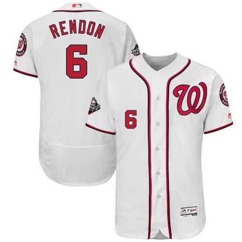 Men's Washington Nationals #6 Anthony Rendon White 2019 World Series Bound Flexbase Authentic Collection Stitched MLB Jersey