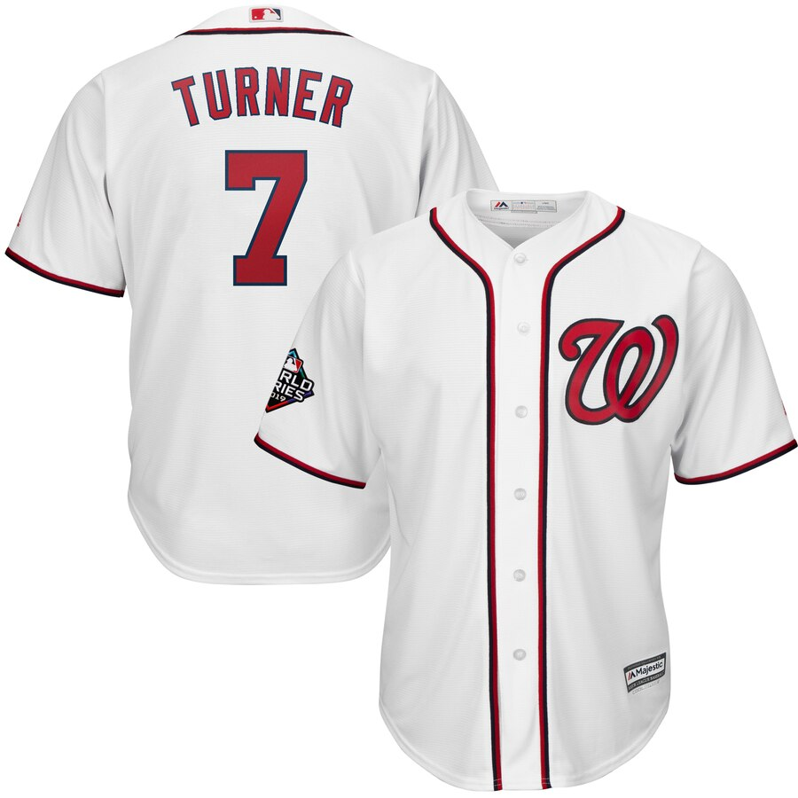 Men's Washington Nationals #7 Trea Turner White 2019 World Series Bound Cool Base Stitched MLB Jersey