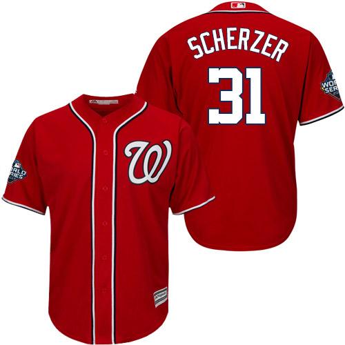 Men's Washington Nationals #31 Max Scherzer Red 2019 World Series Bound Cool Base Stitched MLB Jersey