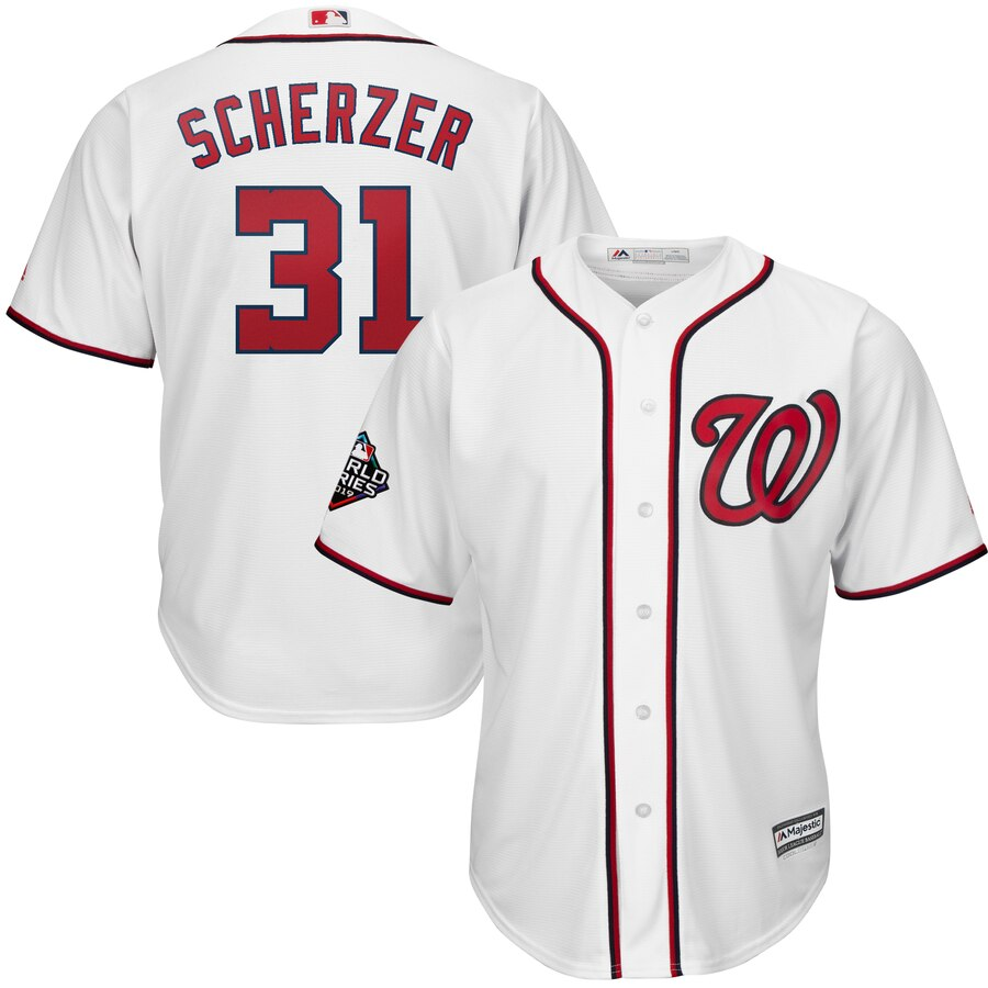 Men's Washington Nationals #31 Max Scherzer White 2019 World Series Bound Cool Base Stitched MLB Jersey